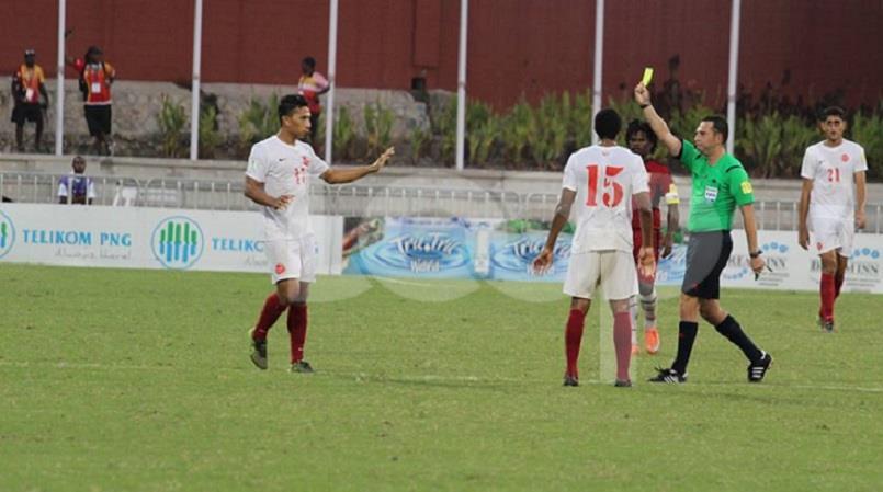 Tahiti player given yellow card