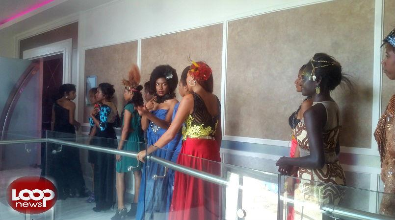 Models during yesterday's runway