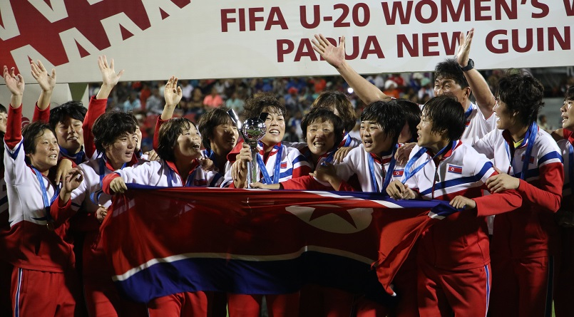 Korea DPR celebrating after their win on Saturday, Dec 3, 2016