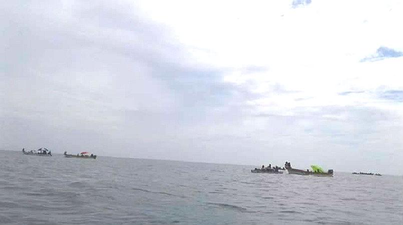 Gabba Gabba women and children seeking refuge out at sea