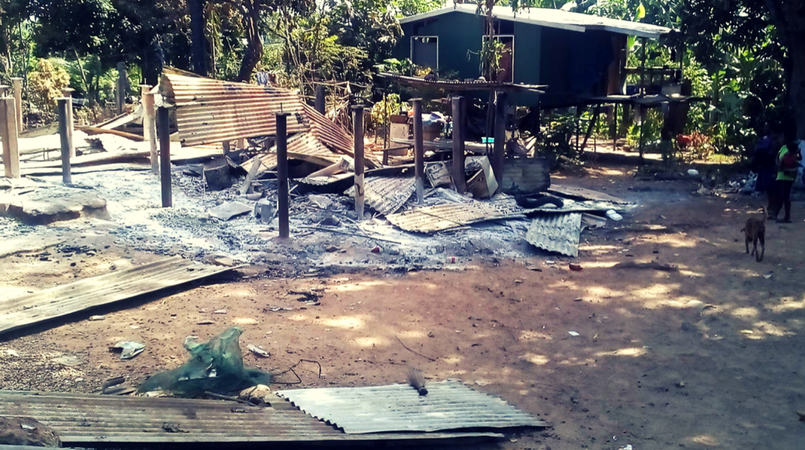 One of the Mahuru houses that was razed to the ground