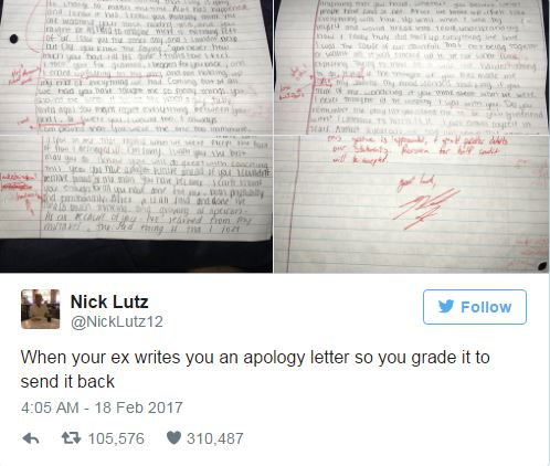 Man marks his exgirlfriends apology letter and sends it back to