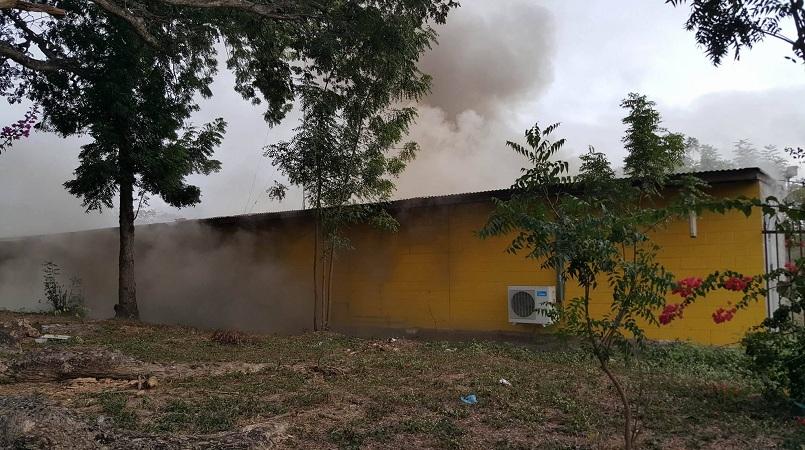 The burning Uni Venture building this morning