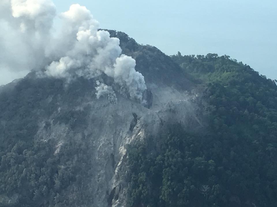 The smoking volcano – Picture: Samaritan Aviation