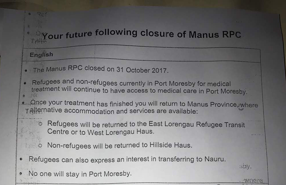 The new notice that was distributed in Port Moresby