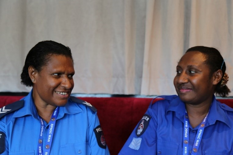 Senior Constables Angelina Mot (L) and Maria Phia (R), representing Wewak Police Station, East Sepik Province