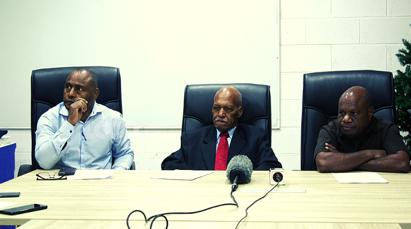 From left: Legal counsel, Ralph Saulep, deputy board chairman, Samson Napo, and provincial administrator, Bart Ipambonj