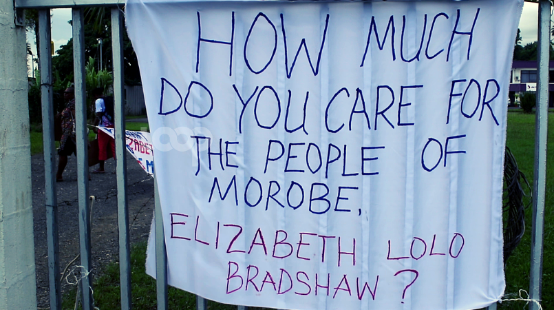 A banner outside the MSIL fence