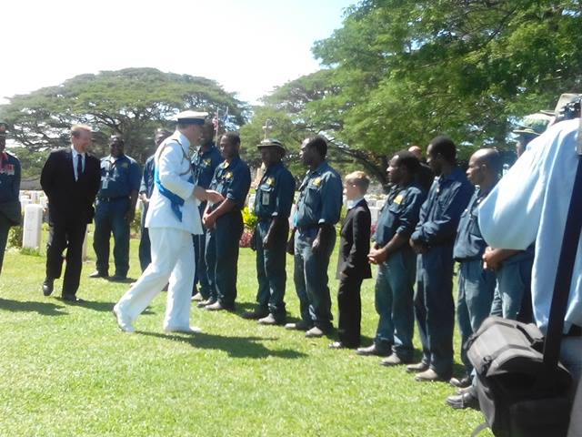 Duke of York Prince Andrew talking to care takers of Bomana War Cemetery