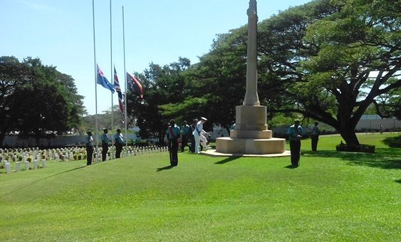 Duke of York Prince Andrew laying a wreath at Bomana War Cemetery