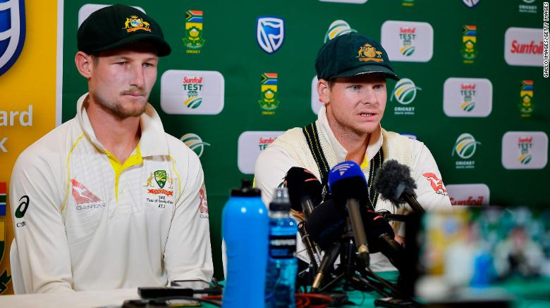 Cameron Bancroft, left and Steve Smith