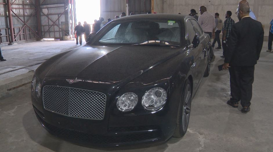 One of the two Bentleys in the warehouse