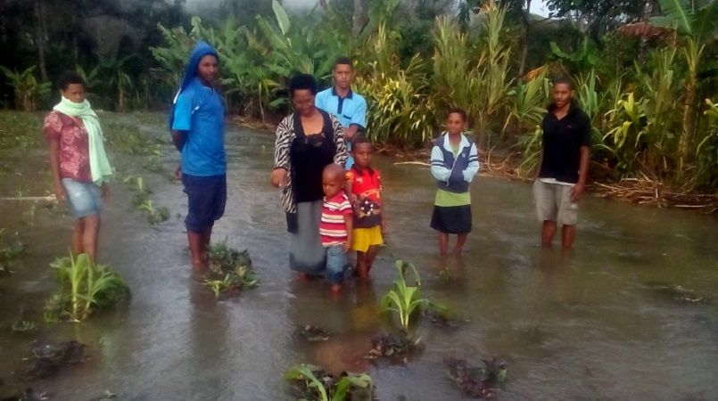 The Aura family on their flood ravaged garden