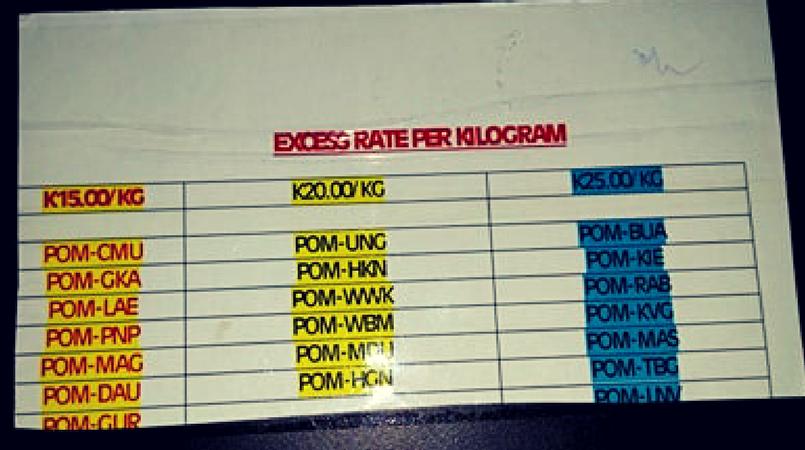 ANG excess baggage rates increase   Loop PNG